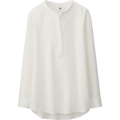 Blouse Rayon uniqlo rayon sleeve blouse in white lyst