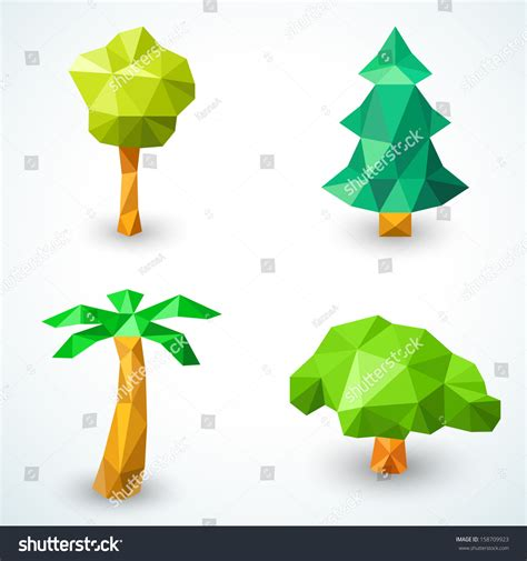origami origami tree steps stock illustration