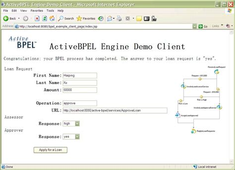 tutorial jsp website running the loan approval exle on activebpel engine