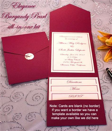 printable pocket wedding invitation kits print your own burgundy wedding invitations burgundy