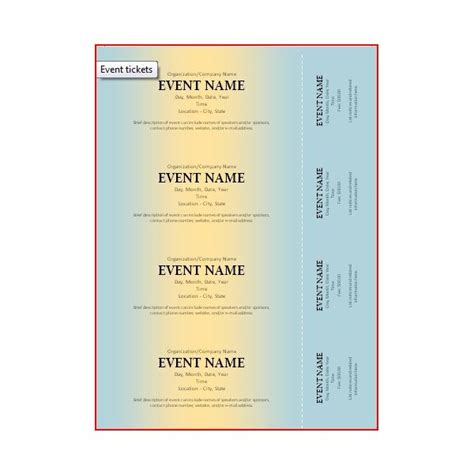 templates for event tickets free ticket template new calendar template site
