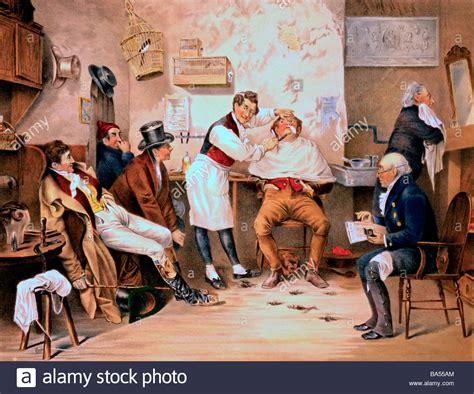 getting a old mans combover in barber shop ye old way illustration of 7 men in a barber shop one