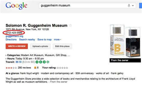 google images numbers google can t get guggenheim museum s contact information