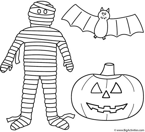 mummy template mummy with a pumpkin o lantern and bat coloring
