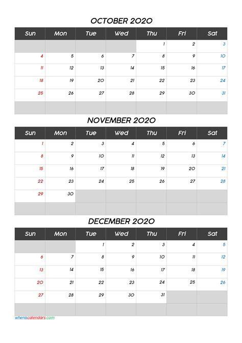 october november december  calendar