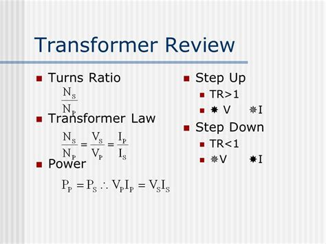 transformer inductance vs turns ratio equipment operation maintenance ppt