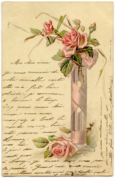 romantic french image pink roses handwriting