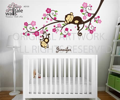 Sticker Names For Walls girl monkey nursery blossom tree branch wall decal with cute