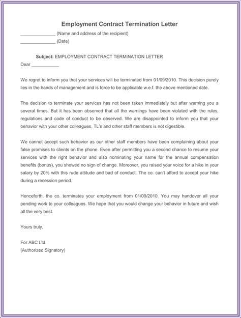 employment termination letter samples write
