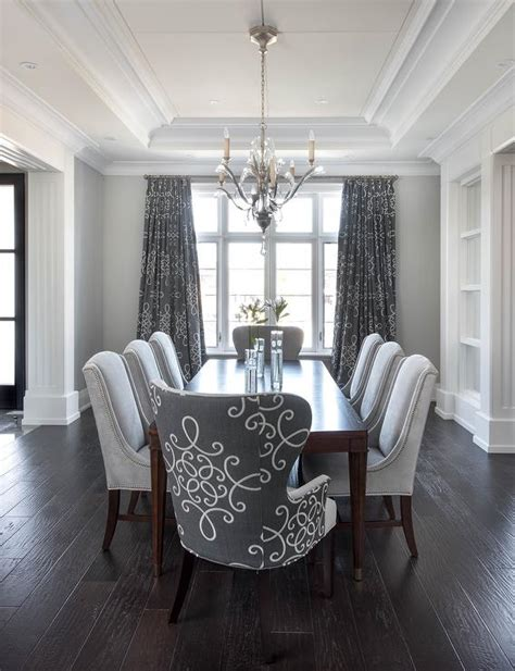 Curtains Dining Room Ideas Gray Dining Room With Gray Medallion Curtains Transitional Dining Room