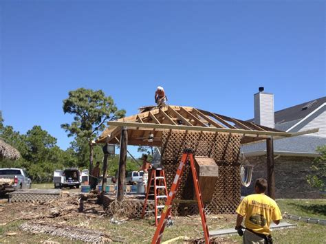 Tiki Bar Construction Tiki Bar Framing For Reroof Brevard County Fl
