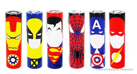 18650 Battery Sleeve Pvc Wrap Superheroes Edition Batere Batre 1 1 12 18650 battery sleeve pvc heat shrinkable wrap 6 pieces 6 pack ships one of each
