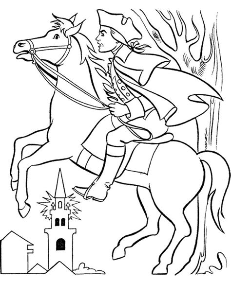 paul revere with horse coloring page kids coloring pages