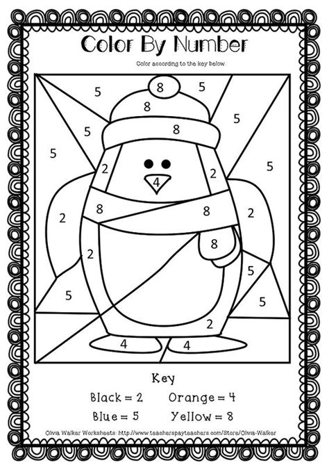 large print color by number coloring book winter beautiful and festive coloring activity book for and winter to relieve stress and relax books penguin math worksheets for preschoolers 1000 images