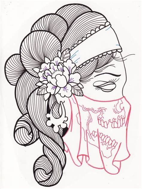sugar girl tattoo designs sugar skull outline www pixshark