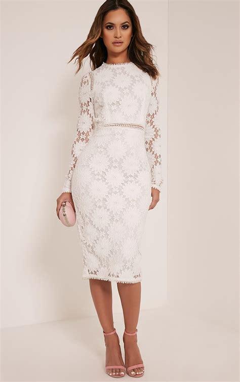 White Lace Sleeved Dress caris white sleeve lace bodycon dress dresslover uk