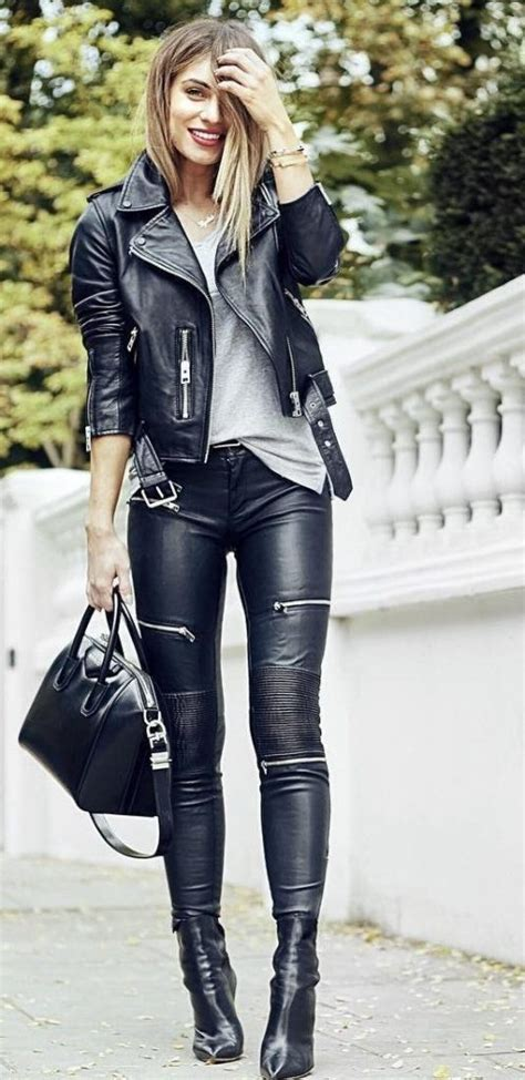 cool leather jacket outfit ideas  women outfit ideas hq