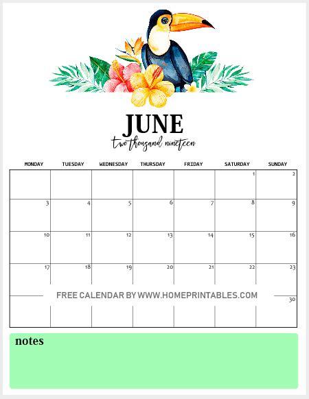 printable monthly calendar vibrant tropical