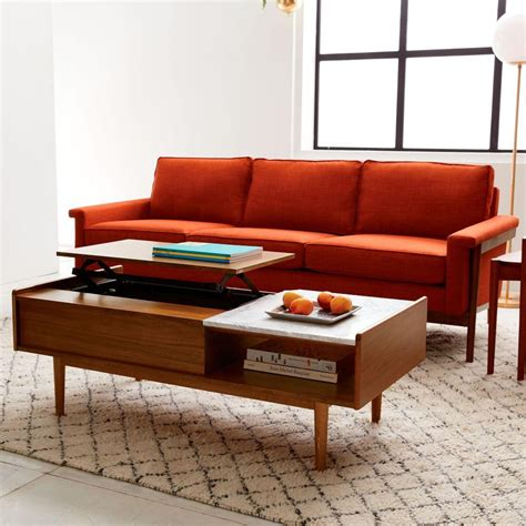 Coffee Tables With Storage Space Mid Century Pop Up Storage Coffee Table West Elm Uk