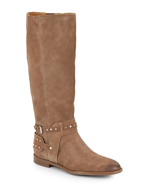 nine west luciana suede boots in brown lyst