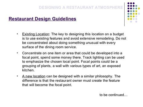 design guidelines for restaurant restaurant atomsphere