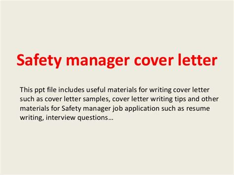 Safety Administrator Cover Letter by Safety Manager Cover Letter