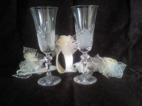 set two chagne glasses 2 wedding glasses