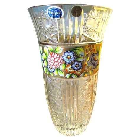12 quot bohemian 24 lead cut vase with gilt