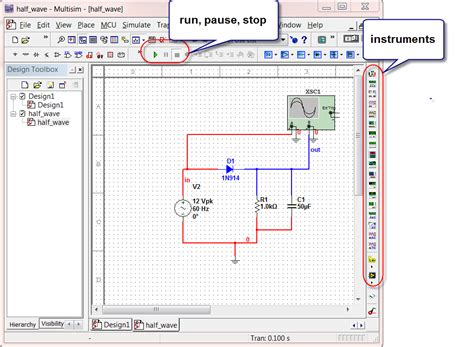 3 rectifiers simulation with scope instrument circuit simulation and design using multisim 1