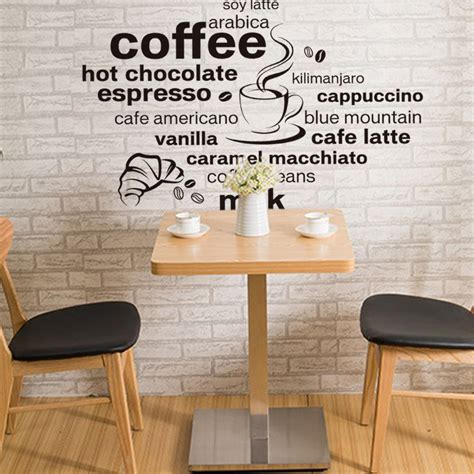 diy coffee shop design creative wall stick diy contracted letters black coffee