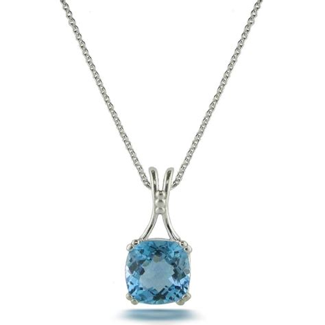 sterling silver cushion cut blue topaz pendant official