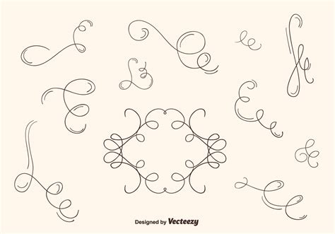 hand drawn vector tutorial hand drawn curly swirl vector set download free vector