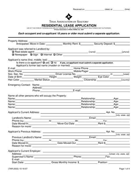 residential rental application forms anuvrat info