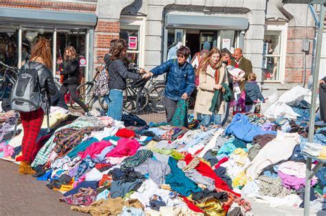 clothing in a sale on daily flea market waterlooplein