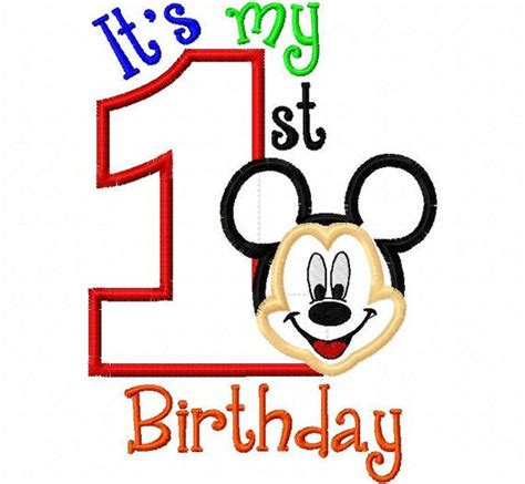 happy birthday mickey mouse design my first birthday mr mouse full face one 1 applique
