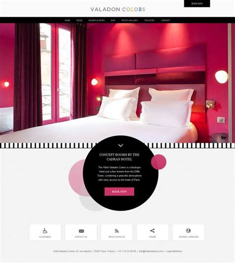 web design inspiration hotel hotel valadon colors boutique hotel paris 7 webdesign