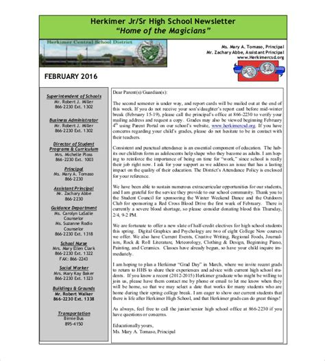 high school newsletter template 9 school newsletter templates free sle exle