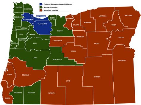 oregon map of counties minimum wage rate summary