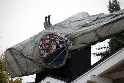 diy roof decorations diy 29 foot millennium falcon roof decoration is the best way to welcome wars the last jedi