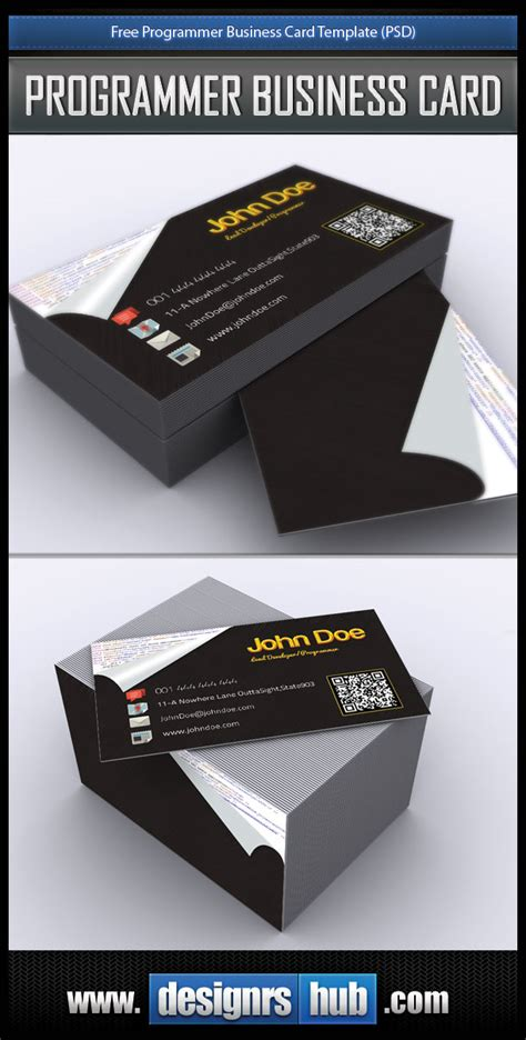 Free Programmer Business Card Template Psd Card Templates Psd