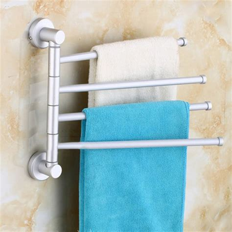 Bathroom Towel Storage Wall Mounted Wall Mounted Aluminum Bath Towel Holder Swivel Bathroom Rack Rail Hanger Su Ebay