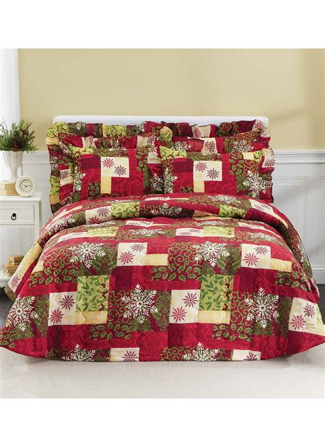 holiday bedspreads and comforters holiday patchwork bedding separates drleonards com