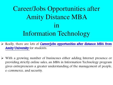 Mba In Information Technology It by Amity Distance Mba In Information Technology