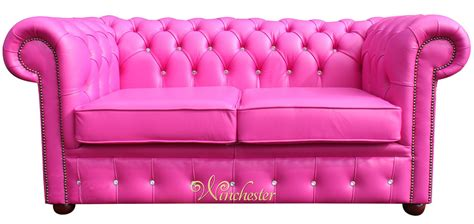 pink leather sofa chesterfield 2 seater swarovski crystallized