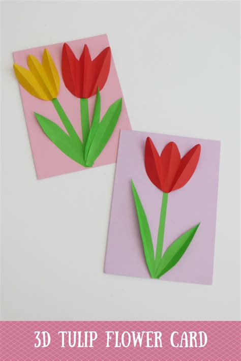 tulip template card 3d tulip flower day card et speaks from home