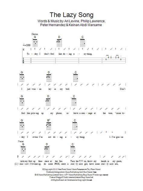 song chords the lazy song ukulele songs
