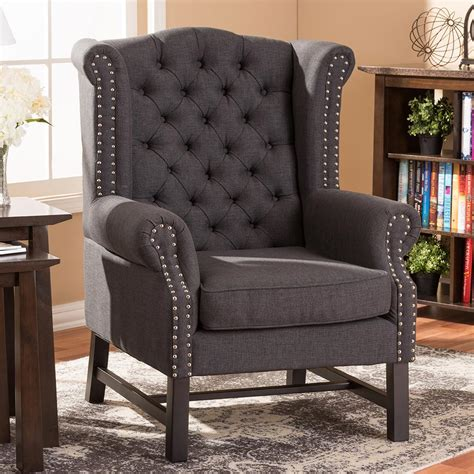 studio chairs baxton studio sussex gray fabric upholstered accent chair