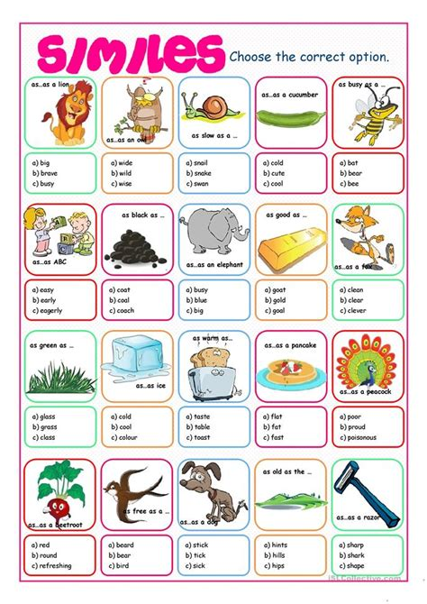simile and metaphor worksheets for elementary school
