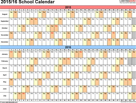 school calendars 2015 2016 as free printable excel templates