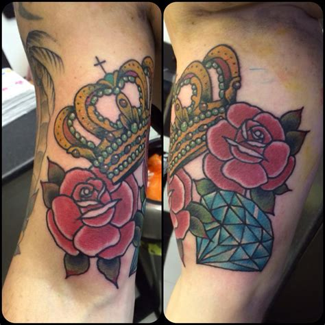 traditional diamond tattoo traditional crown and roses inner bicep